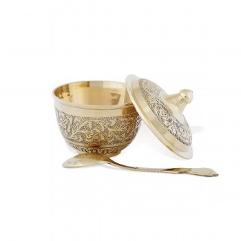 Dazzling Brass Sugar Pot With Ornaments