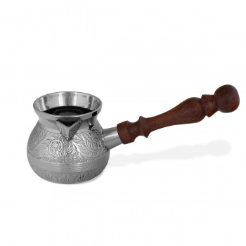 Brass Decorative Unique Fantastic Turkish Coffee Pot With a Wooden Handle