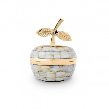 Decorative White and Yellow Brass Apple