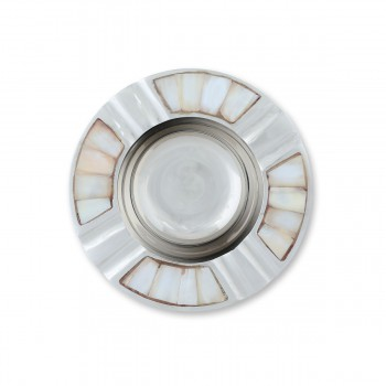 Unique Brass And Mother of Pearl Round Ashtray