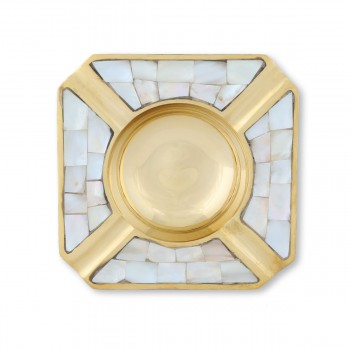 Splendid Brass And Mother of Pearl Square Ashtray