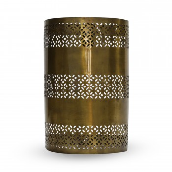 Brass Wall Lantern With Floral Designs
