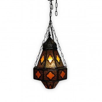 Patterned Brass Ceiling Light Syrian-Style
