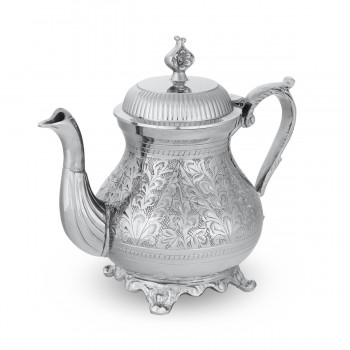 Floral-Patterned Embossed Brass Teapot Silver