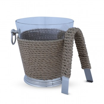 Ice Bucket With Metal Tongs & Rope