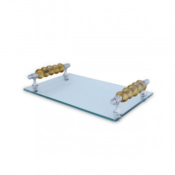 Glass Tray With Flat Gold Beads Handle