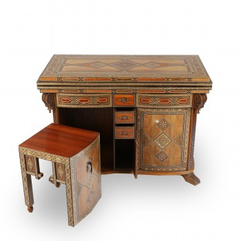 Stunning Backgammon and Chest Mosaic Wood Board Table