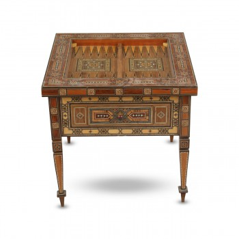Square Mosaic Table with Backgammon