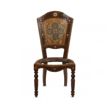 Charming Mosaic Wood and Mother of Pearl Inlays Chair