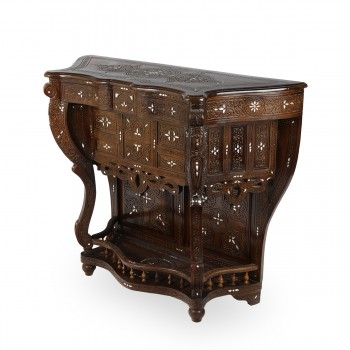Patterned Wooden and Mother of Pearl Console
